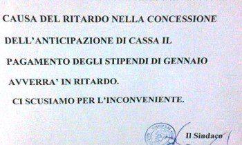 MALETTO: STIPENDI IN RITARDO AL COMUNE