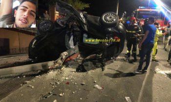 MANIACE: TRAGEDIA NEL CUORE DEL PAESE PERDE IL CONTROLLO DELL'AUTO INVESTE E MUORE A SOLI 23 ANNI