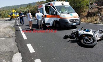 BRONTE: SCONTRO FRONTALE AUTO-MOTO SULLA STRADA STATALE 284 GRAVE IL GIOVANE CENTAURO