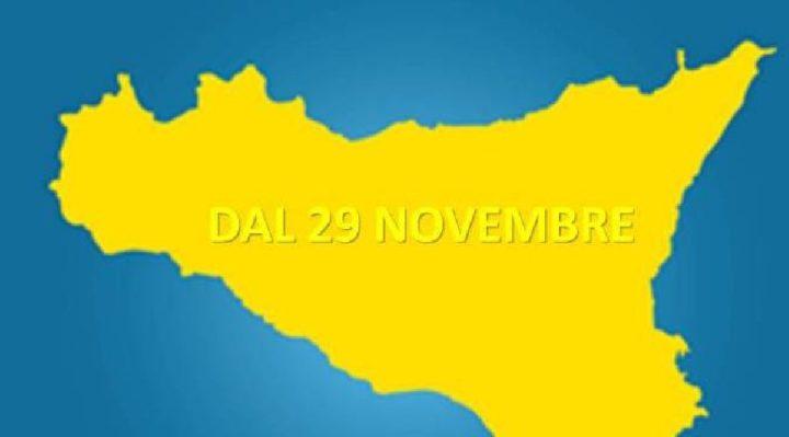 SICILIA DA DOMANI ZONA GIALLA, COSA CAMBIA FINO AL 4 DICEMBRE